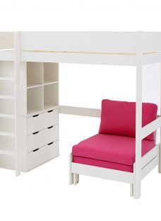 Tinsley Highsleeper with Chest and Storage - Pink and White 3'0 Single