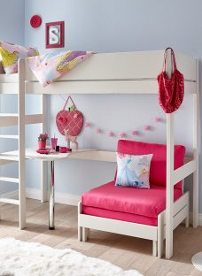 Tinsley Highsleeper with Desk - Pink and White 3'0 Single
