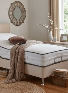 Westwood Mattress With Standard Oatmeal Adjustable Divan Bed On Legs - Medium Firm 2'6 Small Single