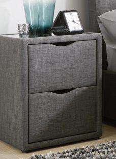 Wilson 2 Drawer Bedside Chest Chest Slate Grey Fabric