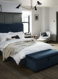 Salisbury Fabric Blue Bed Frame 4'6 Double