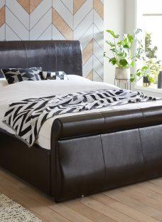 Detroit Black Faux Leather End Drawer Super King Bed Frame 6'0 Super King