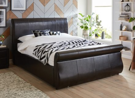 Detroit Black Faux Leather End Drawer Double Bed Frame 4'6 Double