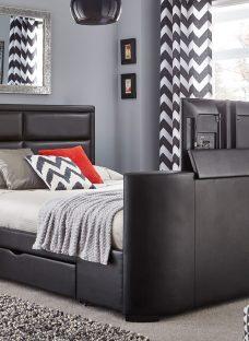 Trafalgar Black Bonded Leather Sony 32inch LED TV Bed Frame 5'0 King
