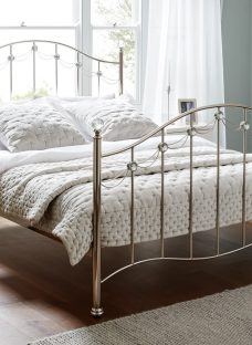 Annette Nickel Metal Double Bed Frame 4'6 Double