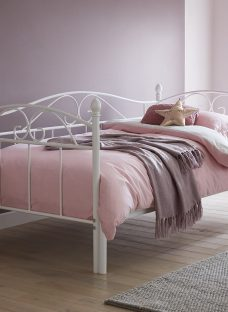 Kylie White Metal Day Bed With Pull-Out Bed 3'0 Single