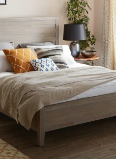 Burke Grey Wooden Double Bed Frame 4'6 Double Light Wood