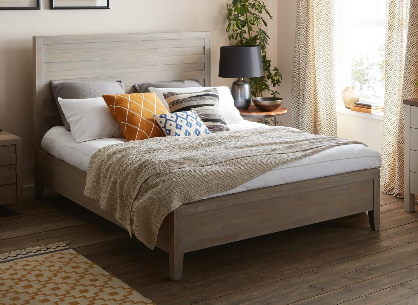 Burke Grey Wooden King Bed Frame 5 0 King Light Wood Bed Sava