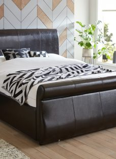 Detroit Black Bonded Leather End Drawer Small Double Bed Frame 4'0 Small Double Faux Leather