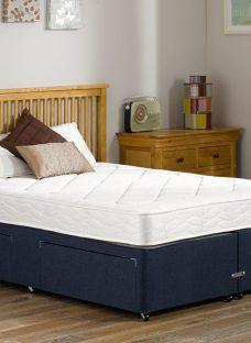 Ashton Traditional Spring Divan Bed - Medium - Blue 4'6 Double