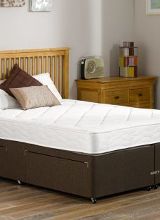 Ashton Traditional Spring Divan Bed - Medium - Mocha 2'6 Small Single Dark Brown