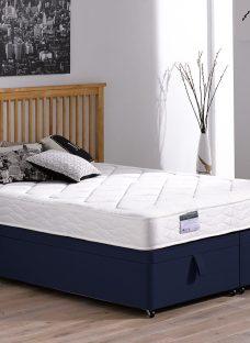 Ashton Traditional Spring Ottoman Bed - Medium - Blue 4'6 Double