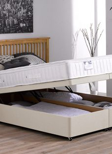 Kendall Pocket Sprung Ottoman Bed - Firm - Beige 4'6 Double Off White