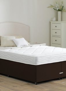 Taylor Traditional Spring Divan Bed - Medium - Mocha 4'6 Double Dark Brown