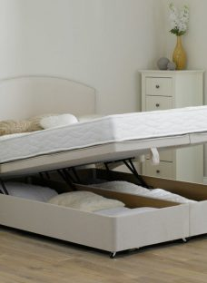 Taylor Traditional Spring Ottoman Divan Bed - Medium - Beige 3'0 Single Off White