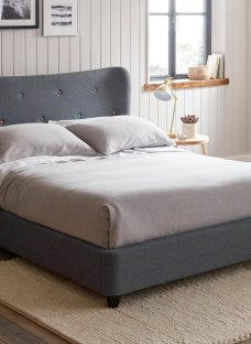 Warne Grey Fabric Upholstered Bed Frame 4'6 Double