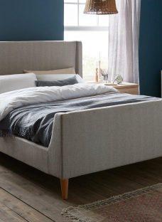 Morris D Grey Tweed Bed (Sprung Slats) 4'6 Double
