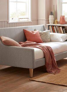 Watson S Grey Tweed Day Bed (Sprung Slats)