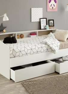 Jamie Day Bed Frame with Storage WHITE