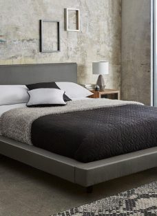 Diaz Grey Faux Leather Bed Frame 5'0 King