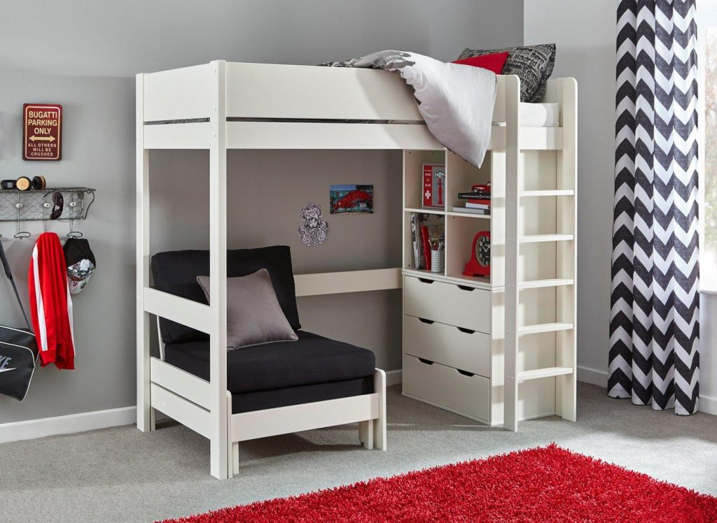 Tinsley High Sleeper Bed Frame With Storage Chair White Bed Sava