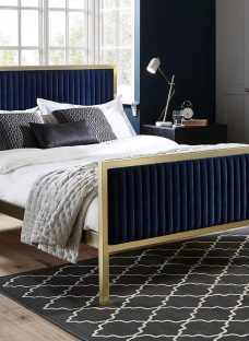 Addison Gold And Blue Metal Bed Frame 5'0 King OTHER