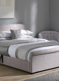 Wilson Silver Fabric Ottoman Bed Frame 5'0 King GREY