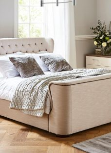 Brussels Natural Fabric Bed Frame 6'0 Super king CREAM