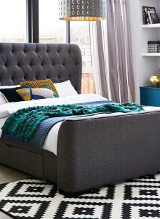Danbury Grey Tweed Upholstered Bed Frame 4'6 Double