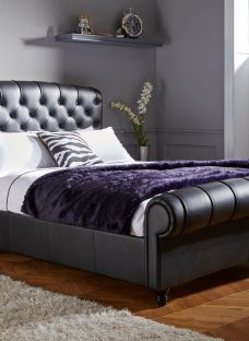 Ellis Black Split Leather Bed Frame 4'6 Double