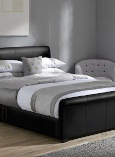Wilson Silver Fabric Ottoman Bed Frame 4'0 Small double BLACK