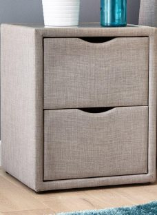 Lucia / Wilson Silver 2 Drawer Bedside Chest GREY