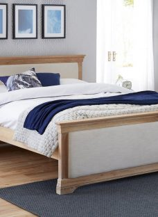 Sabina Natural Oak Wooden & Fabric Upholstered Bed Frame 4'6 Double CREAM