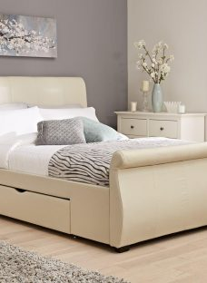 Manhattan Ivory Bonded Leather Upholstered Bed Frame 4'6 Double CREAM