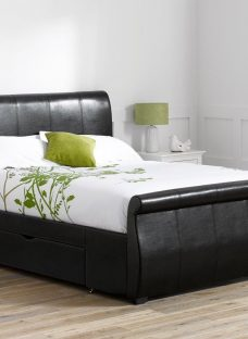 Manhattan Black Bonded Leather Upholstered Bed Frame 4'0 Small double