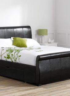Manhattan Black Bonded Leather Upholstered Bed Frame 6'0 Super king