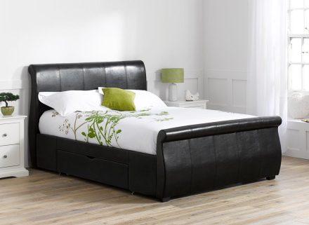 Manhattan Ivory Bonded Leather Upholstered Bed Frame 5'0 King CREAM