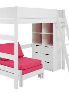 Anderson White High Sleeper With Pink Chair