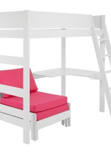 Anderson White Desk High Sleeper With Pink Chair