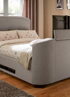 Luther Grey Fabric Upholstered Tv Bed Frame 4'6 Double