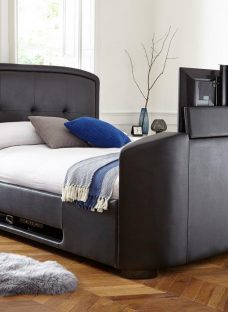 Luther Black Faux Leather Tv Bed Frame 4'6 Double