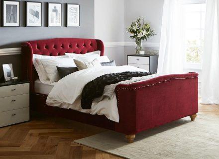 Macgill Red Velvet Bed Frame 4'6 Double