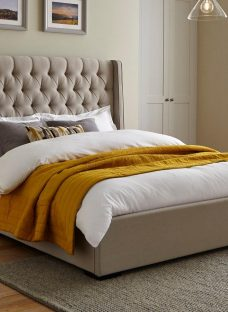 Deacon Beige Fabric Upholstered Bed Frame 4'6 Double CREAM