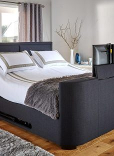 Truscott Midnight Blue Fabric Tv Bed Frame 4'6 Double