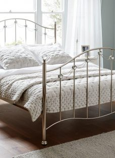 Annette D Metal Bed Nickel (Sprung Slats) 4'6 Double SILVER