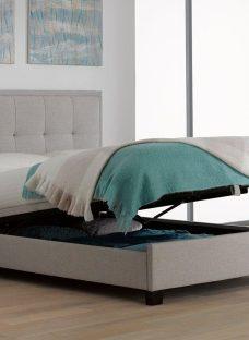 Evert Oatmeal Fabric Upholstered Ottoman Bed Frame 5'0 King BEIGE