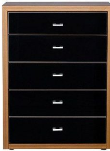 Berkeley 5 Drawer Chest Walnut & Black