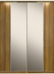 Berkeley 4 Mirror Door Hinged Wardrobe Walnut BROWN