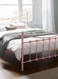 Ava D Metal Bed Pink (Solid Slats) 4'6 Double