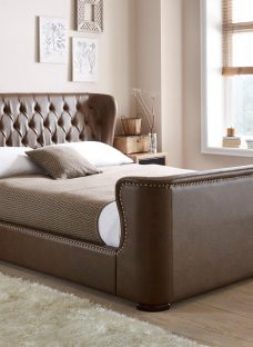 Brussels Brown Bonded Leather Bed Frame 6'0 Super king